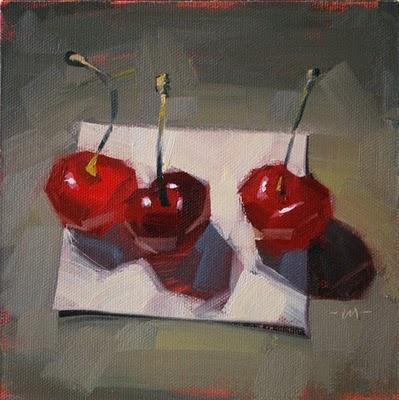 """Cherries Squared"" original fine art by Carol Marine"