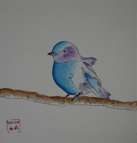 """Blue Robin"" original fine art by Gin Sen"