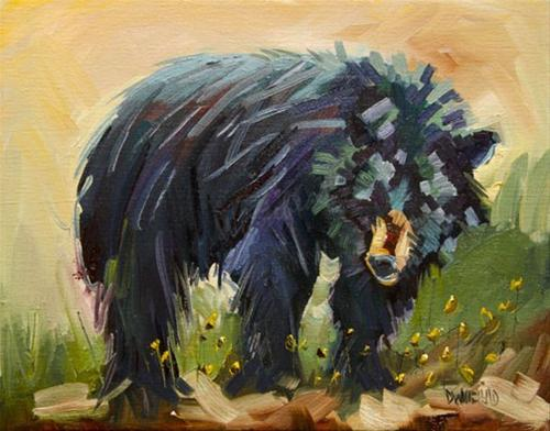 """MY BLACK BEAR FRIEND DIANE WHITEHEAD DAILY PAINTING"" original fine art by Diane Whitehead"