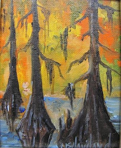 """3 Bald Cypress  Miniature oil painting"" original fine art by Barbara Haviland"