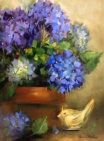 """Little Bird Blue Hydrangeas and a North Texas Workshop by Nancy Medina"" original fine art by Nancy Medina"