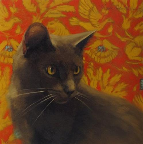 """Lewis II painting of gray cat on pattern"" original fine art by Diane Hoeptner"