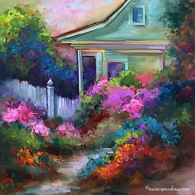 """Pink Azalea Cottage and My Great-Grandmother's House"" original fine art by Nancy Medina"