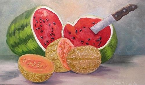 """Watermelon Time  means Summer"" original fine art by Barbara Haviland"