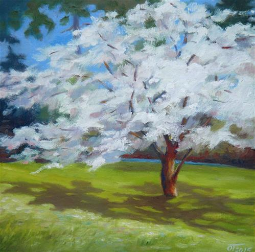 """Cherry blossom"" original fine art by Olga Touboltseva-Lefort"