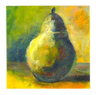 """Green Pear"" original fine art by Kara Butler English"