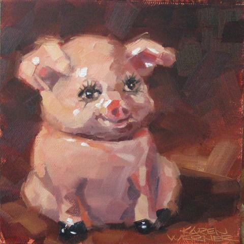 """Positive Piggy"" original fine art by Karen Werner"