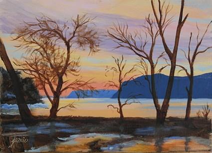 """Winter Sunset on the Hudson"" original fine art by Jamie Williams Grossman"