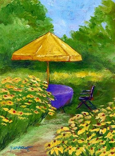 """ORIGINAL PAINTING OF GARDEN WITH YELLOW UMBRELLA"" original fine art by Sue Furrow"