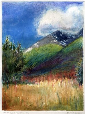 """Monotype: Indian House Mountain, AK"" original fine art by Belinda Del Pesco"
