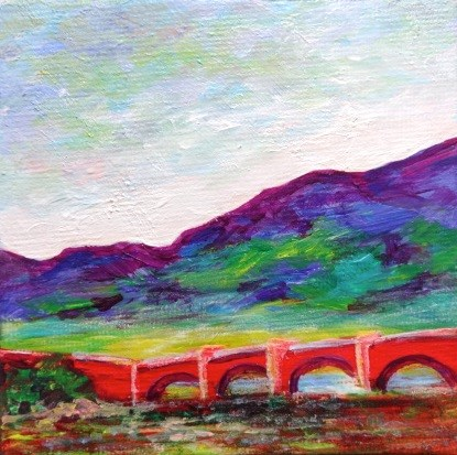"""4001 - The Red Bridge - Mini Masterpiece"" original fine art by Sea Dean"