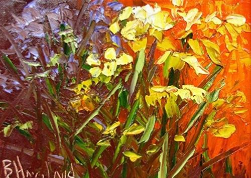 """Abstract  Wildflowers Knife Painting"" original fine art by Barbara Haviland"