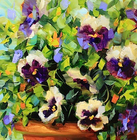 """Take Flight Purple Pansies by Texas Flower Artist Nancy Medina"" original fine art by Nancy Medina"
