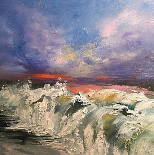 """Wave Study 9, 6 x 6,  Oil, Seascape"" original fine art by Donna Pierce-Clark"