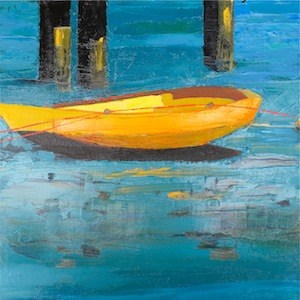 """Abstract Balboa Island Rowboat"" original fine art by Janet Bludau"