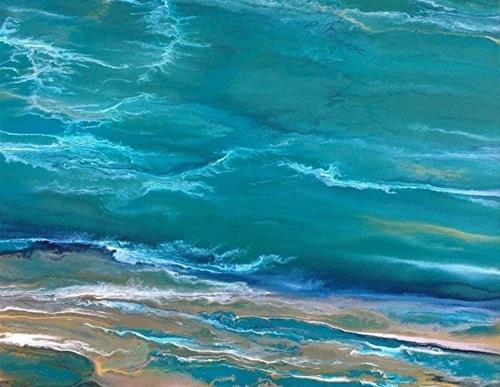 """Contemporary Beach Art, Abstract Seascape Painting, Coastal Art In Motion by International Contemp"" original fine art by Kimberly Conrad"