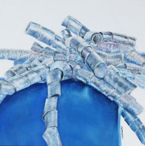 """Blue Gift Box"" original fine art by Linda Demers"