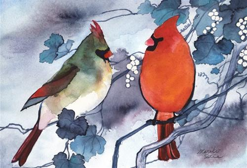 """Cardinals Chattering"" original fine art by Mariko Irie"