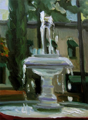 """Plaza Square Fountain"" original fine art by Carol Steinberg"