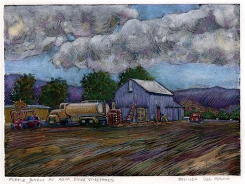 """Monotype: Purple Barn at Agua Dulce Vineyards"" original fine art by Belinda Del Pesco"