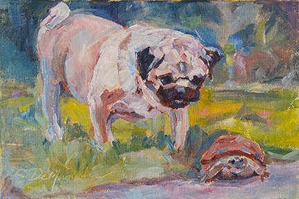 """Buddy, I've got your shell  —Bestie Series"" original fine art by Carol DeMumbrum"