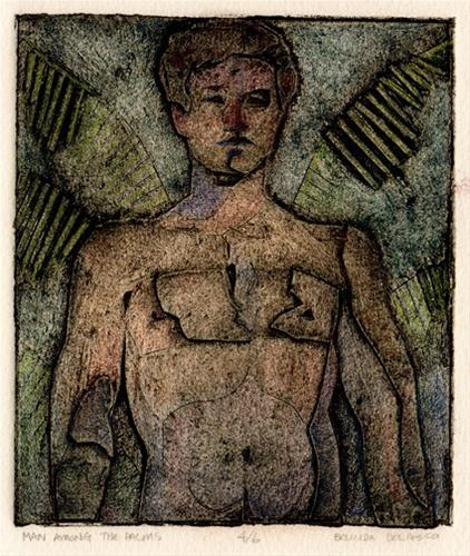 """Collagraph: Man Among the Palms"" original fine art by Belinda Del Pesco"