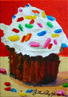 """Chocolate, Cream Cheese Frosting and Sprinkles"" original fine art by JoAnne Perez Robinson"