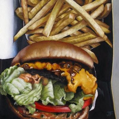 """Hamburger Study - Animal Style"" original fine art by Jelaine Faunce"