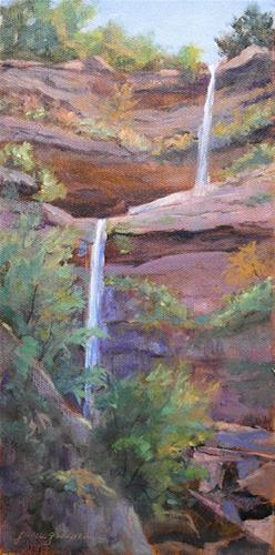 """Touches of Autumn at Kaaterskill Falls"" original fine art by Jamie Williams Grossman"