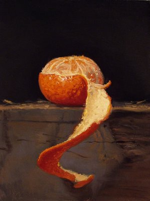 """Tangerine with Peel No. 2"" original fine art by Abbey Ryan"