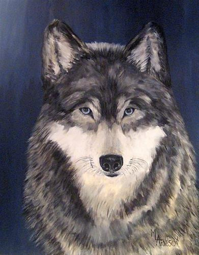 """Wildlife Art, Wolf Painting,Gray Wolf  Mingan by Mary Arneson Art-Works of Whimsy"" original fine art by Mary Arneson"
