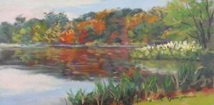 """""""Olana Pond in Autumn"""" original fine art by Jamie Williams Grossman"""