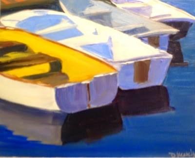 """""""Yellow Boat"""" original fine art by Debra Kennedy"""
