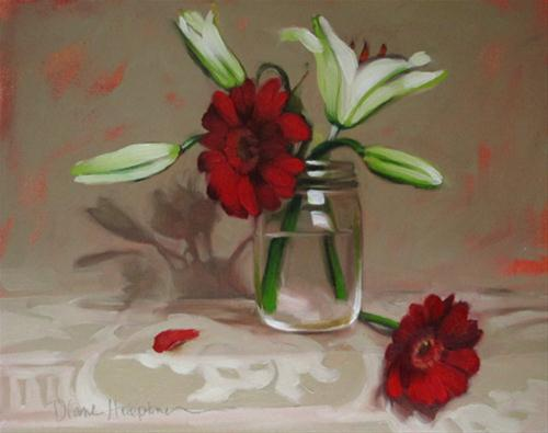 """Xmas Blooms christmas colors holiday"" original fine art by Diane Hoeptner"