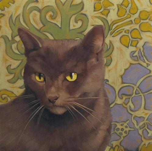"""""""Crafty painting of a gray cat on pattern"""" original fine art by Diane Hoeptner"""