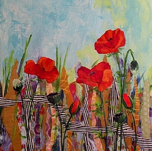 """POPPIES THREE ORIGINAL MIXED MEDIA PAINTING OF ICELAND POPPIES © SAUNDRA LANE GALLOWAY; EXPE"" original fine art by Saundra Lane Galloway"