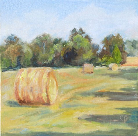 """Plein Air- Round Hay Bale Study #1"" original fine art by Carol DeMumbrum"