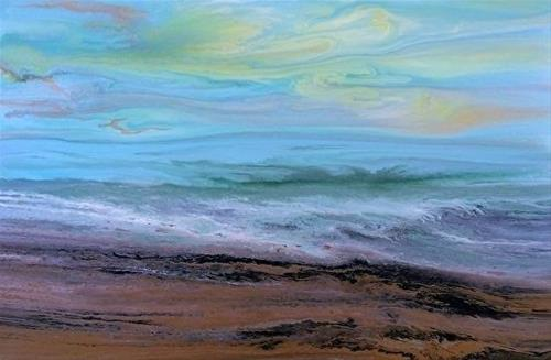 """Contemporary Seascape Abstract Beach Art Coastal Art Painting Gentle Tide II by International Cont"" original fine art by Kimberly Conrad"