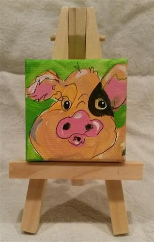 """Itty Bitty Piglet"" original fine art by Terri Einer"