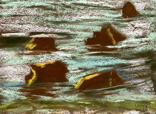 """Sea Rocks"" original fine art by Donna Crosby"