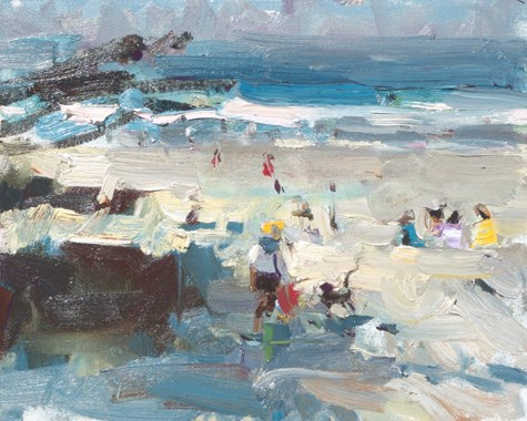 """Painting in California 25 Sunny Beach (sold)"" original fine art by Roos Schuring"