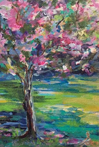 """3098 - Matted - SPRING BLOSSOM ACEO"" original fine art by Sea Dean"