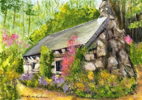 """Cottage in the Woods ACEO"" original fine art by Janet Graham"