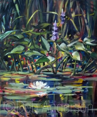 """Oil Painting: Pickerel Weed"" original fine art by Deb Anderson"