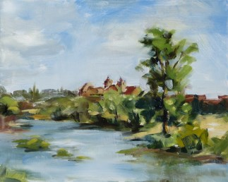 """Plein air oil painting: Far Towers"" original fine art by Deb Anderson"