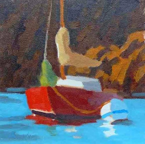 """Red Sailboat Boothbay II"" original fine art by Bobbi Heath"