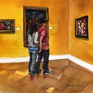"""Art Lovers"" original fine art by Mariko Irie"