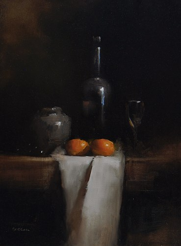 """Bottle with Clementines"" original fine art by Neil Carroll"