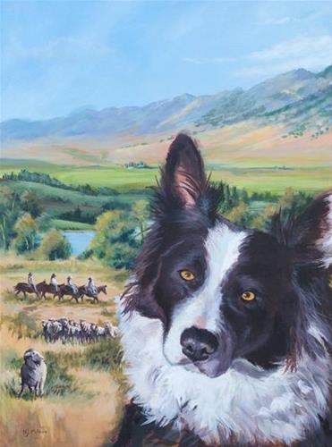 """Original Landscape, Dog Painting A Dog you Can Count On by Colorado Artist Nancee Jean Busse"" original fine art by Nancee Busse"