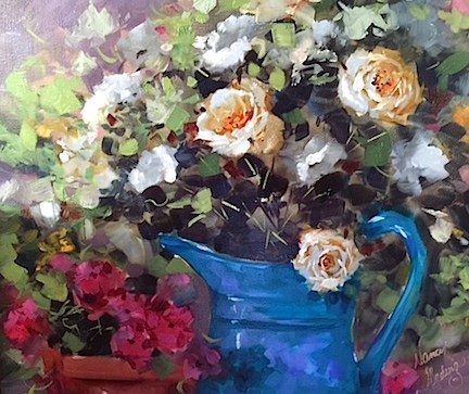"""The View From Paris ~ French Roses and Gardens in the Rain"" original fine art by Nancy Medina"